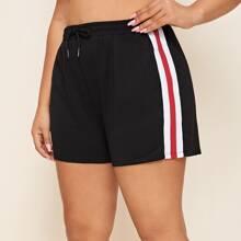 Plus Striped Tape Side Drawstring Shorts