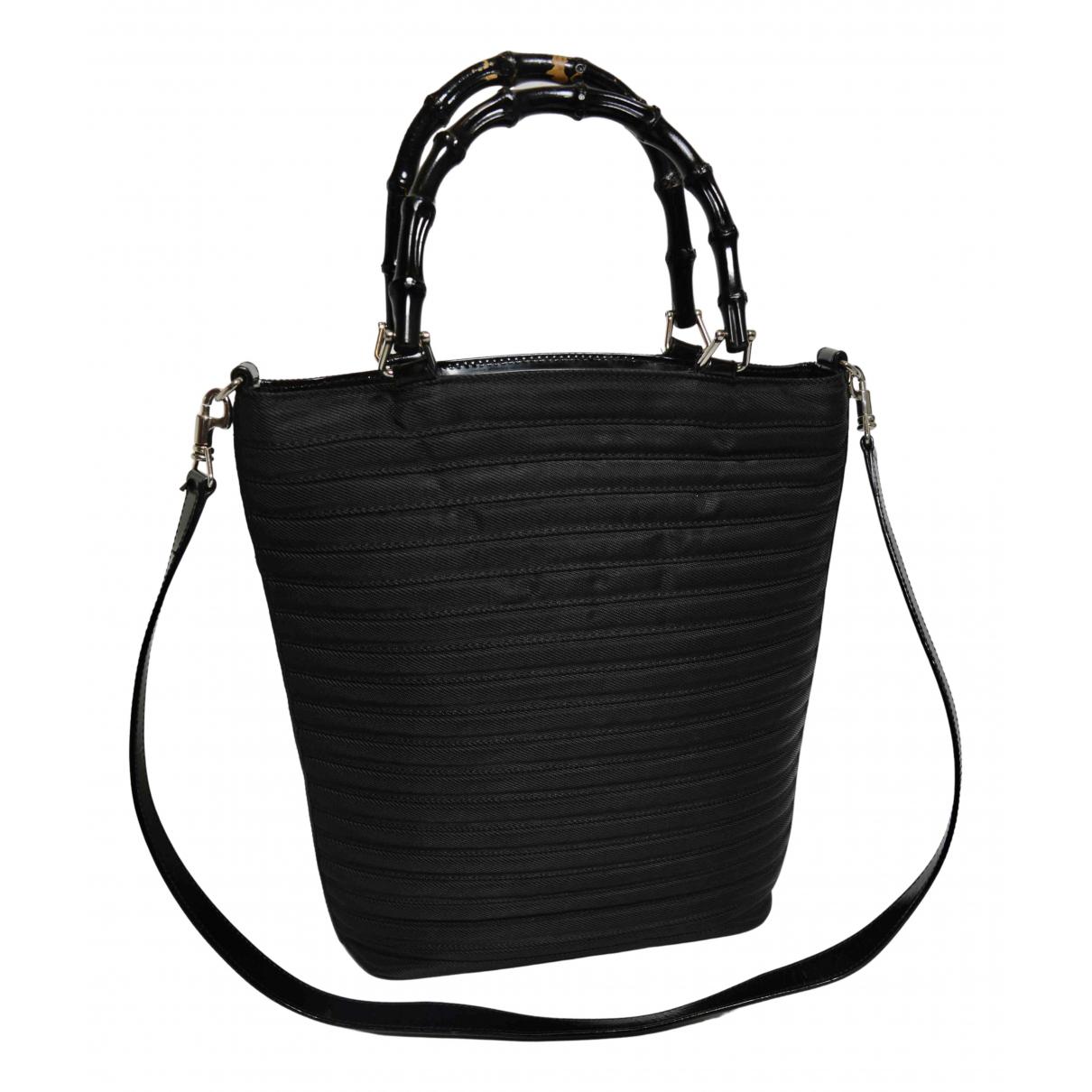 Gucci Bamboo Handtasche in  Schwarz Leinen