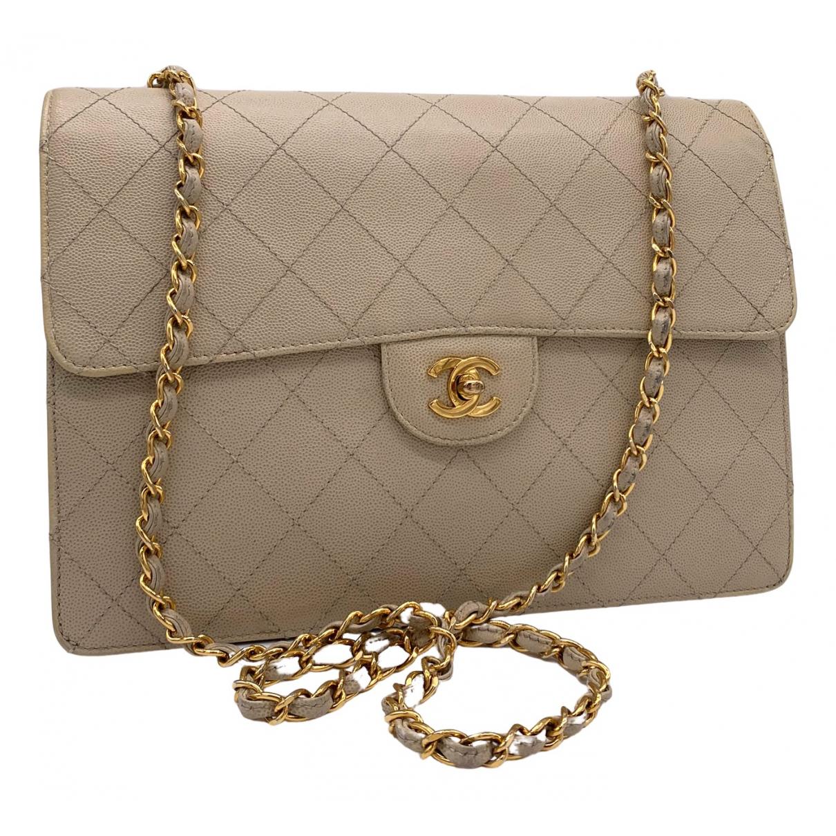 Chanel Timeless/Classique Beige Leather handbag for Women N