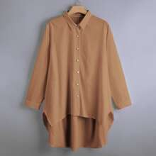 Plus Pearls Button Front High Low Hem Blouse