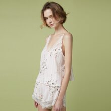PJM Lace Trim Floral Print Cami Top & Shorts PJ Set