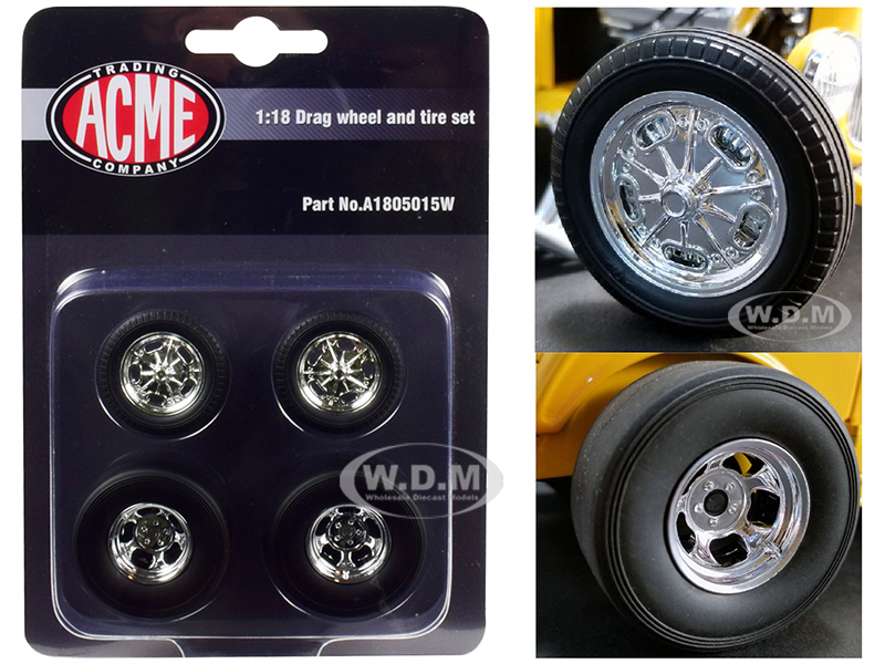 Chrome Drag Wheel and Tire Set of 4 pieces from