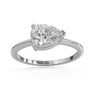 2 CT Moissanite East West Pear Cut Solitaire Ring in 14K Gold (7 - White)