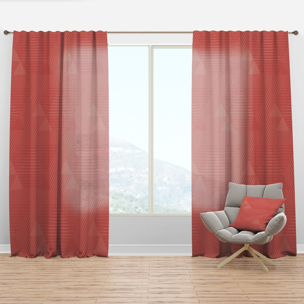 Designart 'Triangual Retro Coral Pattern' Mid-Century Modern Curtain Panel (50 in. wide x 108 in. high - 1 Panel)