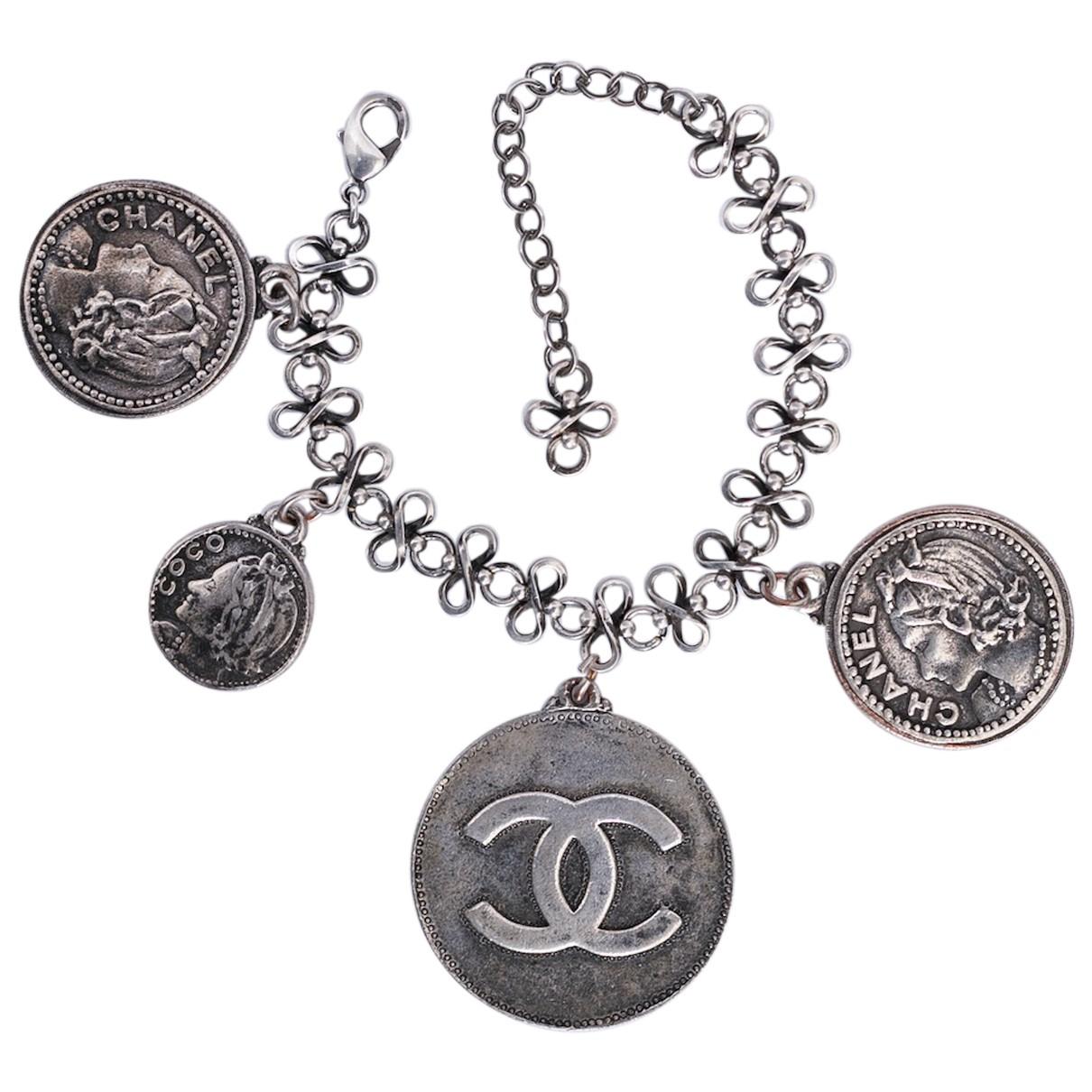 Chanel - Bracelet CC pour femme en metal - gris