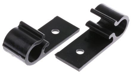 HellermannTyton Cable Clip Black Screw Polyacetal D Clip, 10mm Max. Bundle