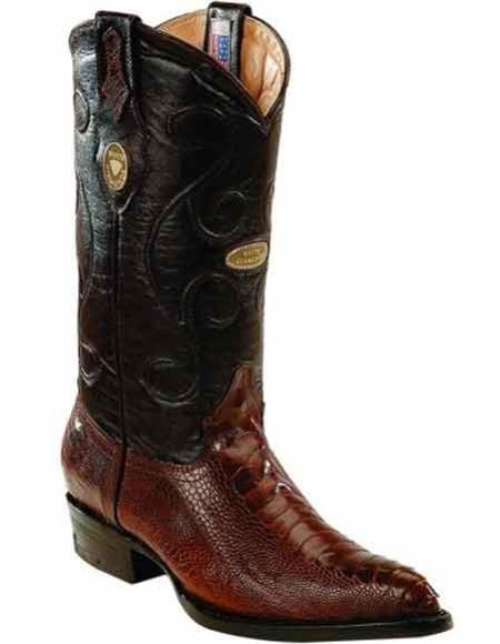 Men's Ostrich Leg Skin J Toe Handcrafted Boots Brown Leather Insole