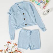 Einfarbige Strickjacke mit Knopfen & Shorts Set mit Knoten auf Taille und Cami Top