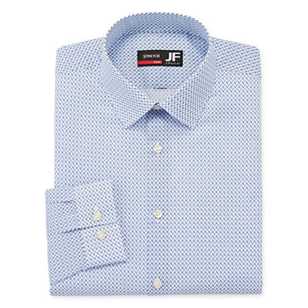 JF J.Ferrar Mens Point Collar Long Sleeve Stretch Dress Shirt, 20 34-35, Blue