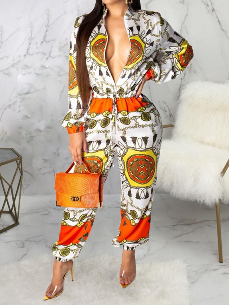 Ericdress African Fashion Print Zipper Slim Jumpsuit