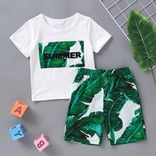 Toddler Boys Tropical Patched Tee With Bermuda Shorts