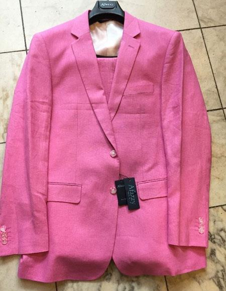 Mens Two Buttons 100% Linen Hot Pink Modern Fit lined suit