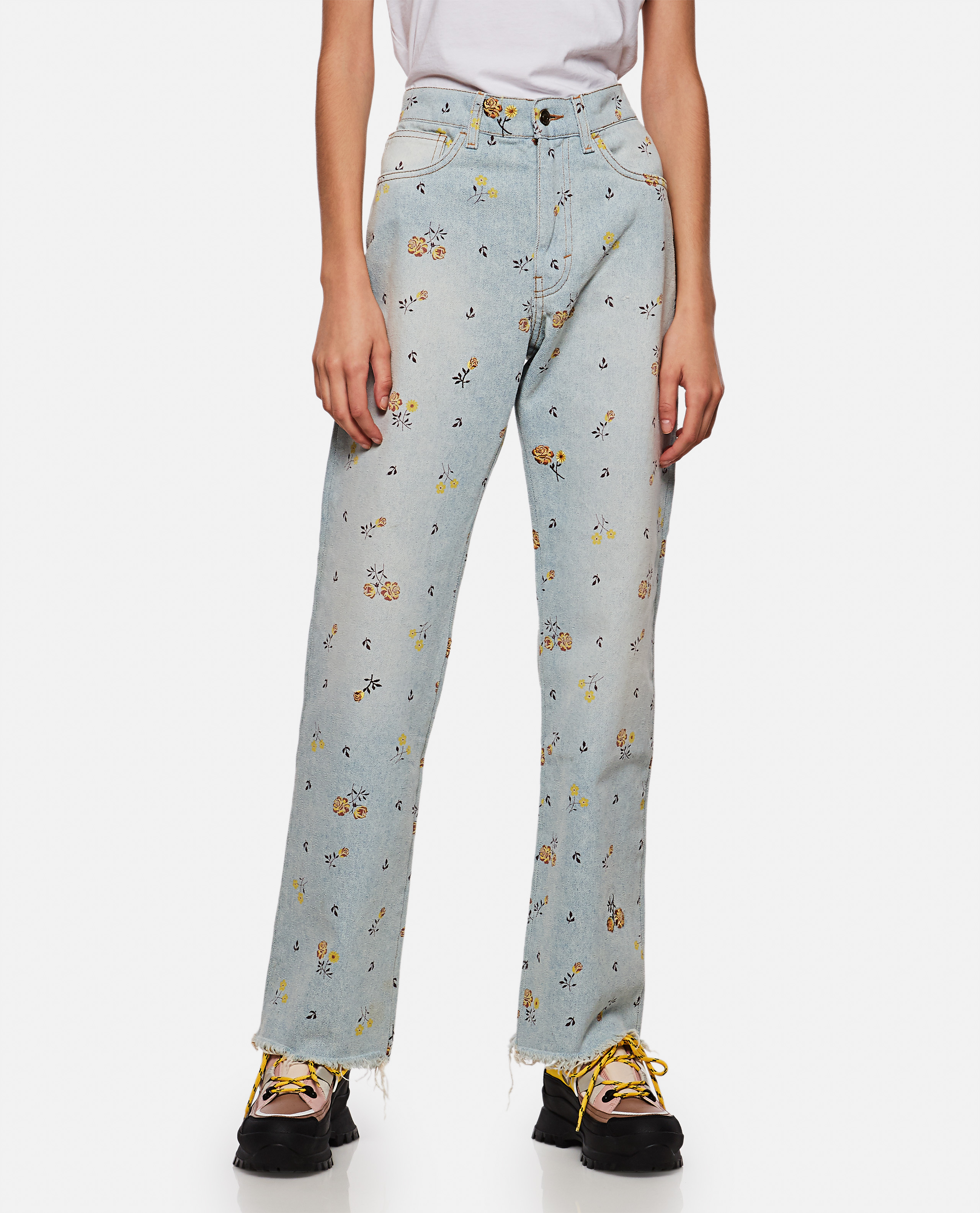 High-waisted floral jeans