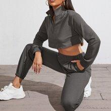 Zip Half Placket Crop Top & Sweatpants Set