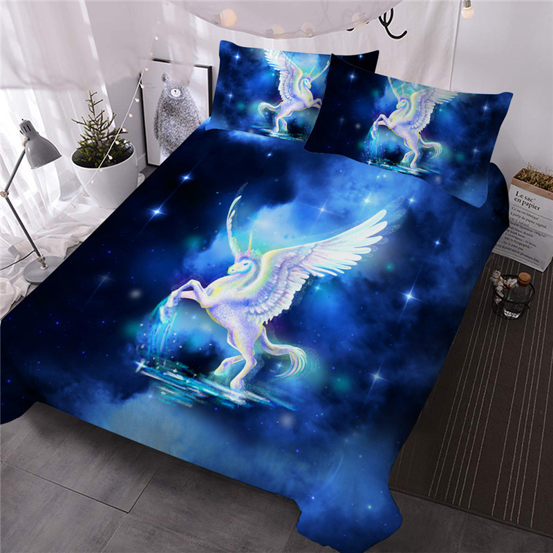 Unicorn Three-Piece Set Reactive Printing Comforter Set Polyester Bedding Sets Ultra-soft Microfiber No-fading
