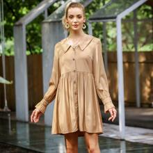 Button Front Flounce Sleeve Smock Dress