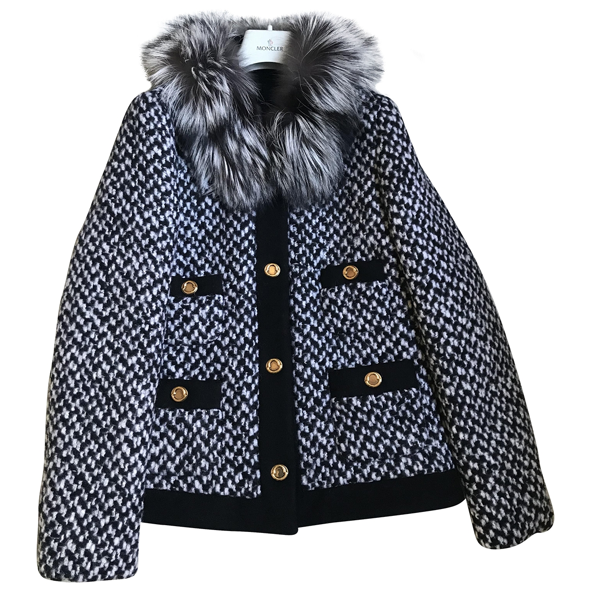 Moncler - Blouson   pour femme en laine - noir
