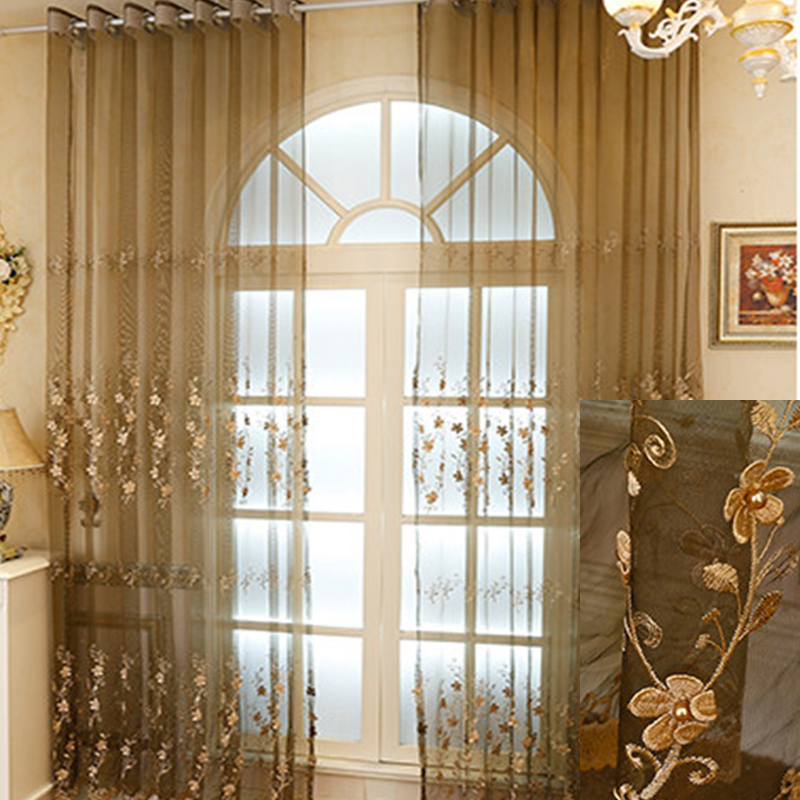 Delicate Coffee Organza Materials with Embroidered White Flowers 2 Panels Sheer Curtain