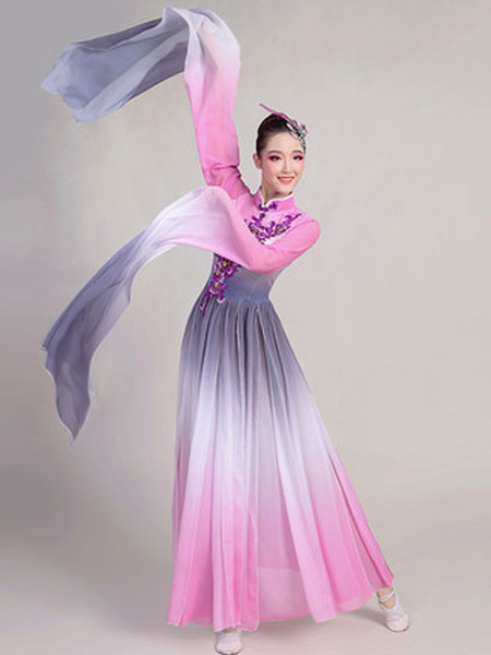 Milanoo Traditional Chinese Dance Costumes Pink Holidays Carnival Costumes