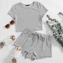 Solid Rib-Knit Top & Knot Front Shorts Set