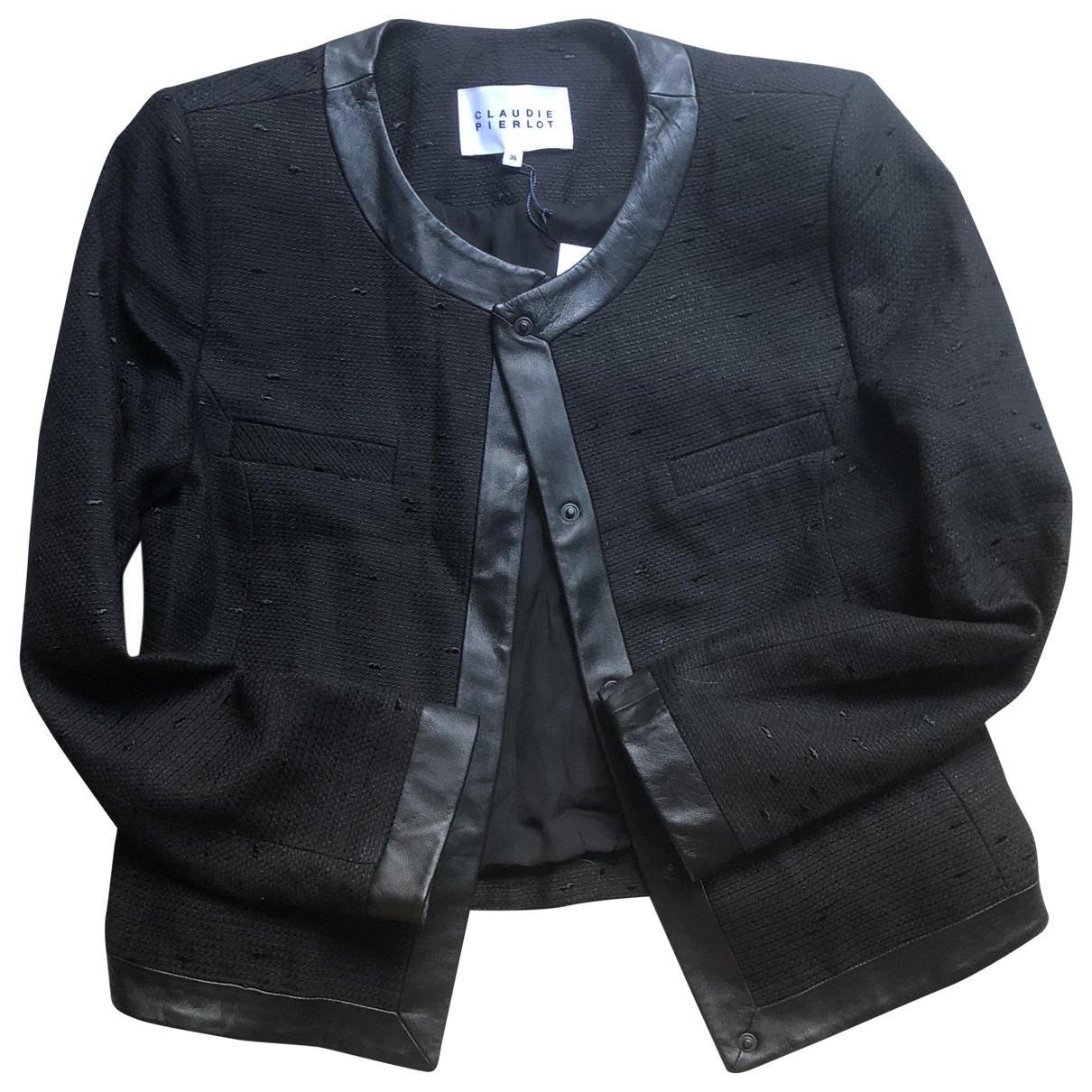 Claudie Pierlot \N Black Linen jacket for Women 36 FR