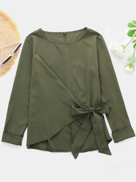 Yoins Green Plain Bowknot Design Round Neck Long Sleeves Blouses
