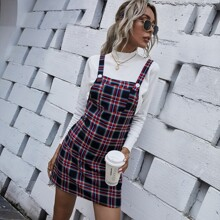 Plaid Pocket Front Overall Dress