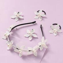 5 Stuecke Kleinkind Maedchen Haar Accessory mit Kunstperlen und Blumen Dekor