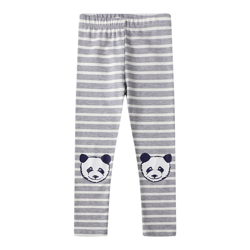 Girls Panda Print Striped Pants For 1-9Y