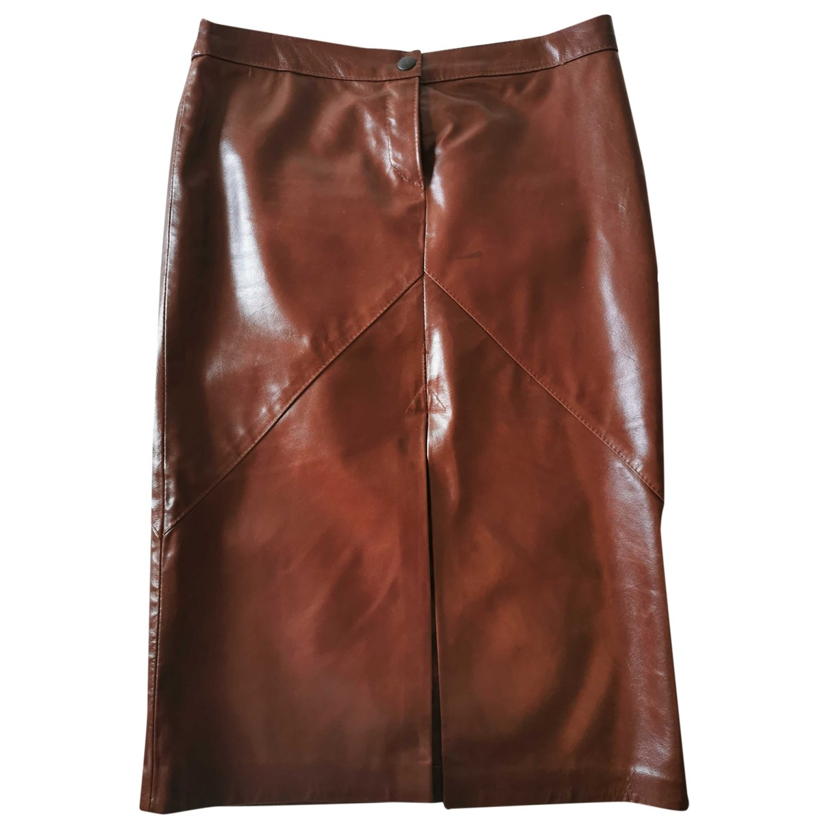 - Jupe   pour femme en cuir - bordeaux