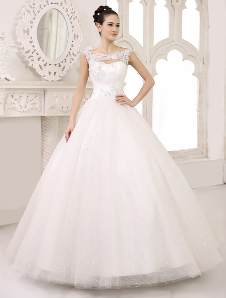 Milanoo Wedding Dress Ball Gown Bridal Dress Lace Applique Sequin Beaded Cut Out Pleated Ivory Floor Length Wedding Gown