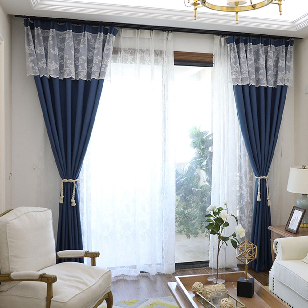 Simple Modern Blue Blackout Heat Insulation Window Curtains Custom 2 Panels Drapes for Living Room No Pilling No Fading No off-lining