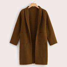 Plus Shawl Collar Dual Pocket Coat