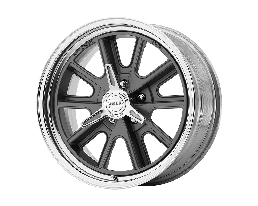 American Racing VN427 Shelby Cobra Wheel 15x8 5x5x120.65 -12mm Two-Piece Mag Gray Center Polished Barrel