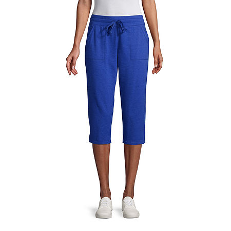 St. John's Bay Mid Rise Capris, Petite Medium , Blue