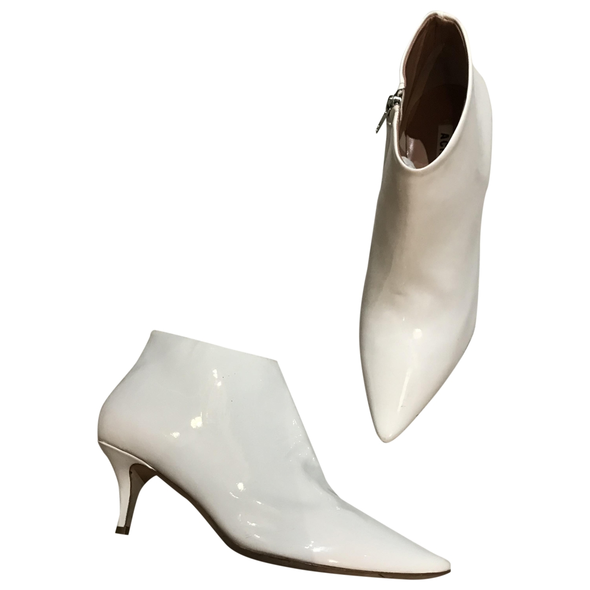Acne Studios - Boots   pour femme en cuir verni - blanc