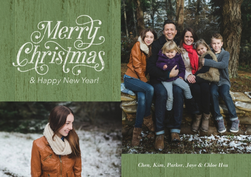 Christmas Photo Cards 5x7 Cards, Premium Cardstock 120lb with Scalloped Corners, Card & Stationery -Vintage Green Christmas & New Year Photo Card by H