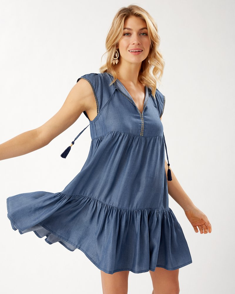 Chambray Embroidered Flutter-Sleeve Dress