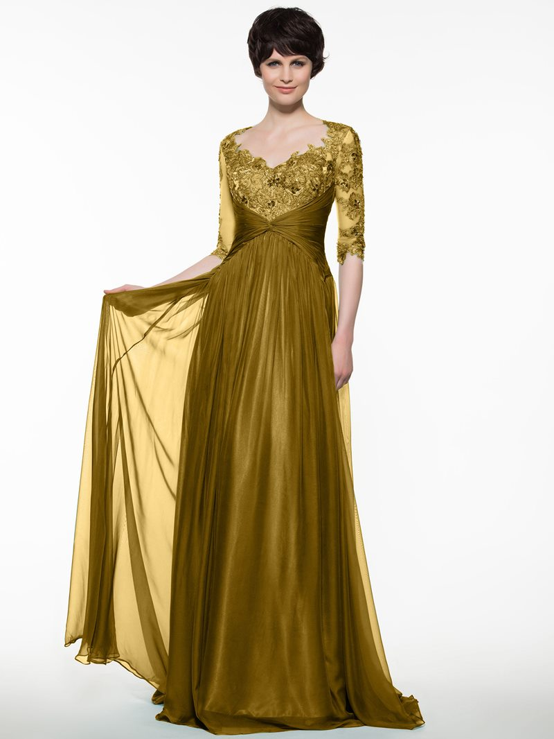 Ericdress V Neck Half Sleeves Appliques Mother Of The Bride Dress