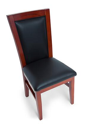 2BBO-CHAIR-MHG Classic Dining Style Poker Chair with Solid Oak Legs and Back  Vinyl Upholstery and High Density Molding Sponge Cushion in