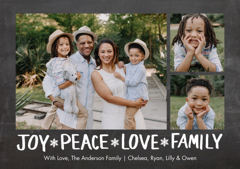 Holiday Photo Cards 5x7 Cards, Premium Cardstock 120lb with Scalloped Corners, Card & Stationery -Holiday Joy Peace Family