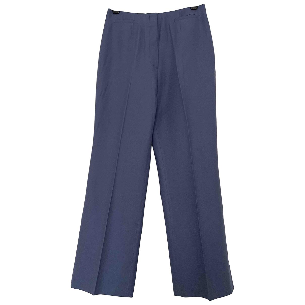 Chloé \N Blue Silk Trousers for Women 40 FR