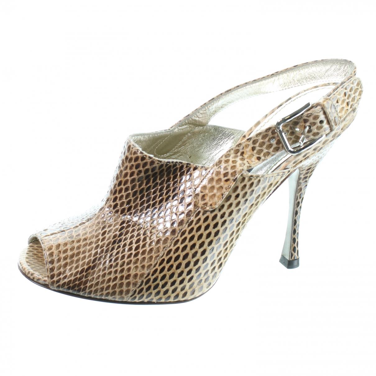 Dolce & Gabbana - Escarpins   pour femme en cuir exotique - marron