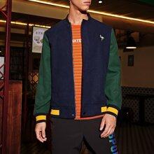 Men Color Block Embroidery Bird Zipper Front Jacket
