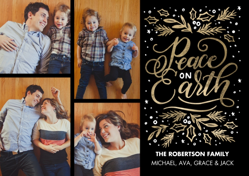Christmas Photo Cards 5x7 Cards, Premium Cardstock 120lb, Card & Stationery -Christmas Peace on Earth by Tumbalina