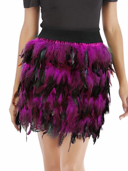 Milanoo High Waisted Skirt Feather Tutu Skirt For Women