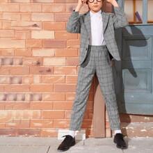 Boys Lapel Neck Plaid Blazer & Tailored Pants Set