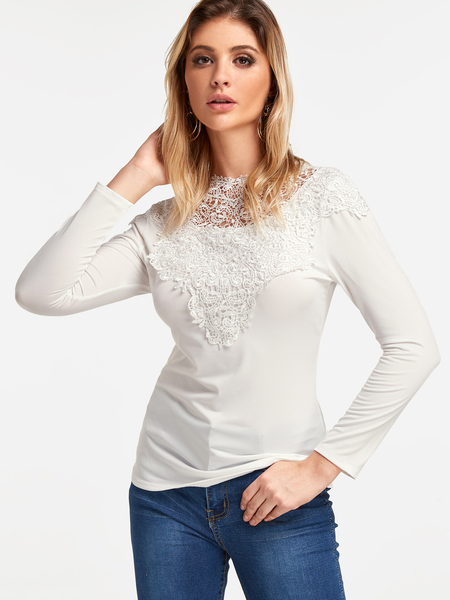 Yoins White Lace Insert Plain Round Neck Long Sleeves T-shirt