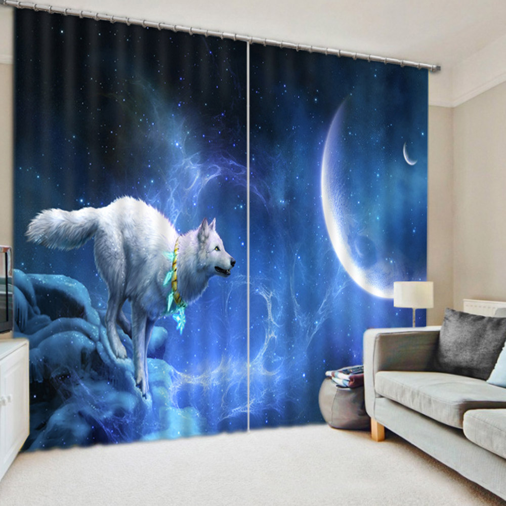 3D Wolf and Moon Printed Blackout Decoration Window Curtains Custom 2 Panels Drapes No Pilling No Fading No off-lining