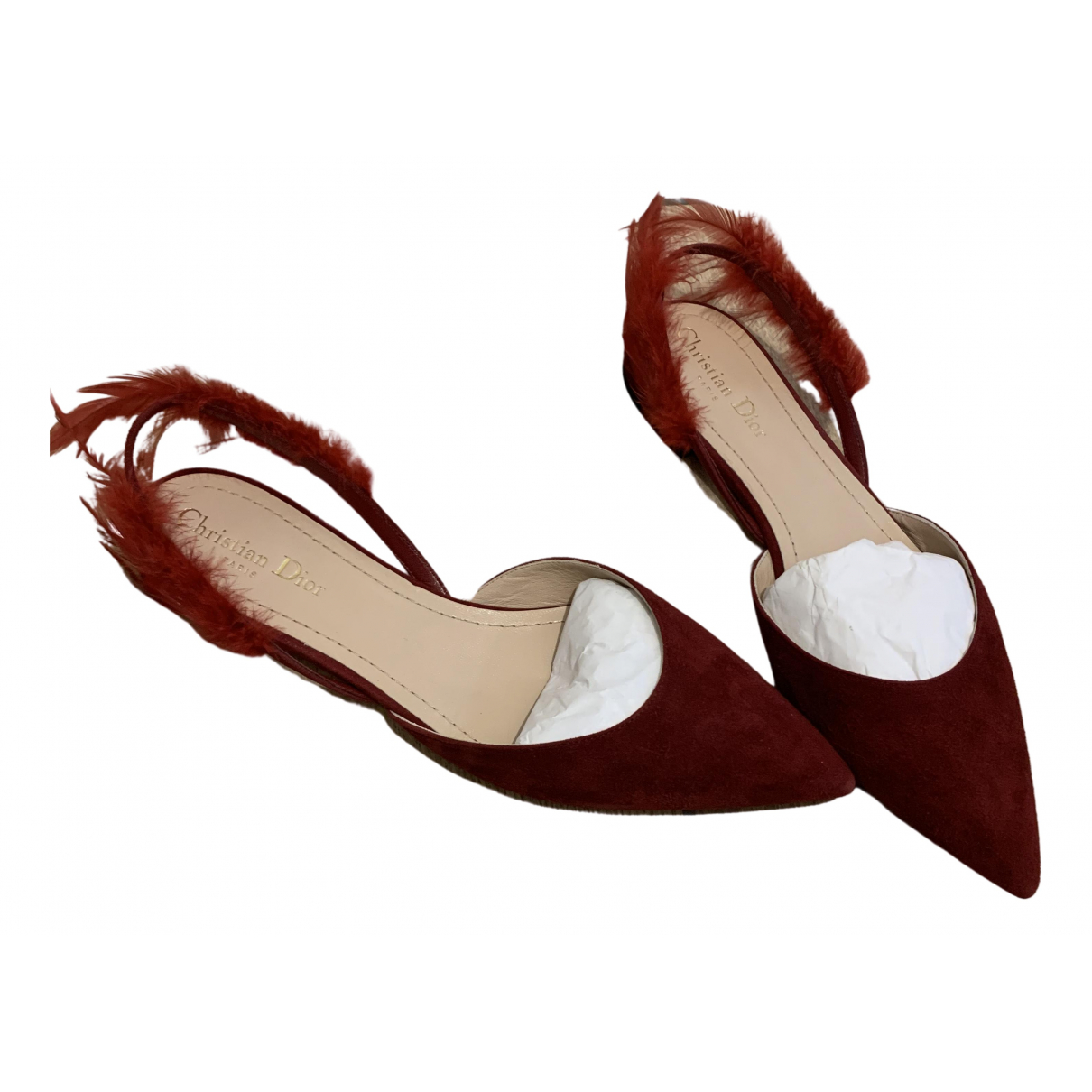 Dior - Ballerines   pour femme en suede - bordeaux